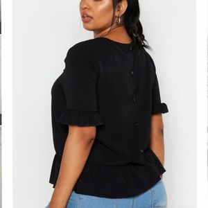 Plus Size Button Back Smock Top